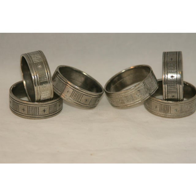 Artisan Hand Forged Norwegian Pewter Napkin Rings in Original Box - Set of 6 For Sale - Image 4 of 8