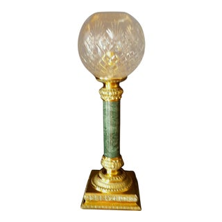 Asian Vintage Etched Crystal, Marble & Brass Lamp