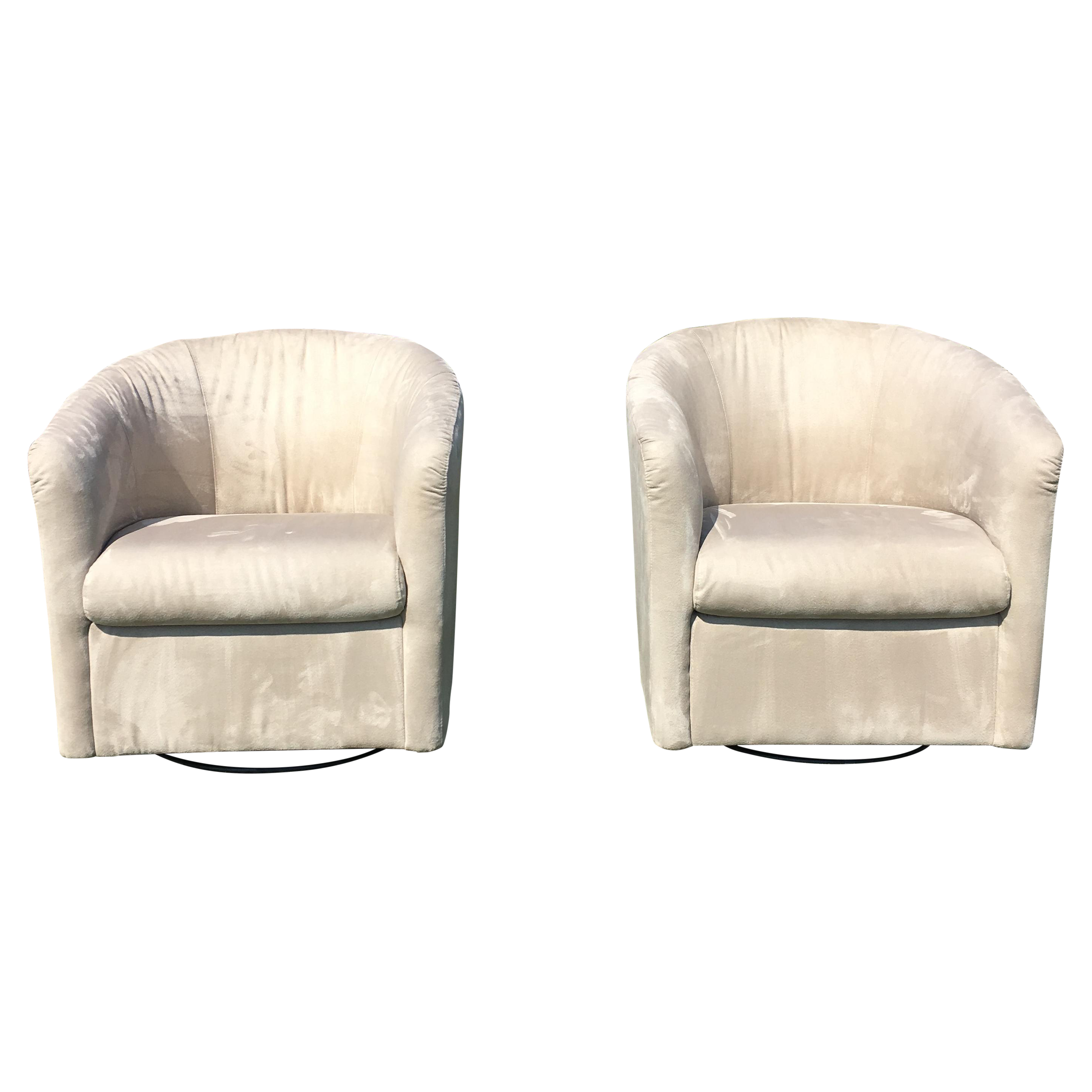 Natuzzi Barrel Swivel Chairs - a Pair  sc 1 st  Chairish & Natuzzi Barrel Swivel Chairs - a Pair | Chairish