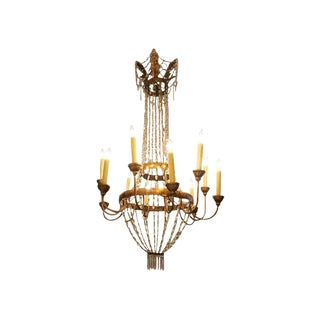 Empire Bronze and Crystal Chandelier For Sale