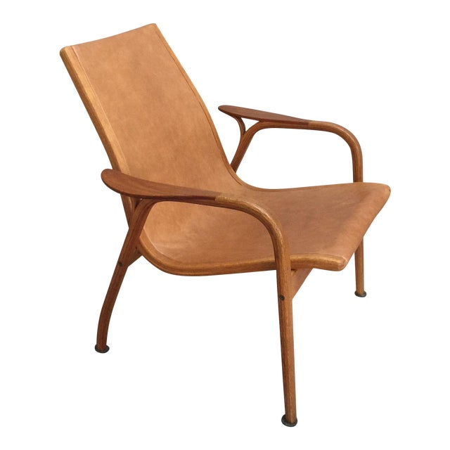 Mid Century Modern Mini-Lamino Leather Chair For Sale