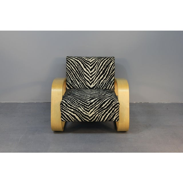 Alvar Aalto Tank Chair With Original Zebra Fabric - Image 3 of 7