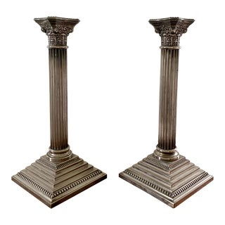 Early 20th Century Silver Corinthian Column Candlesticks - a Pair For Sale