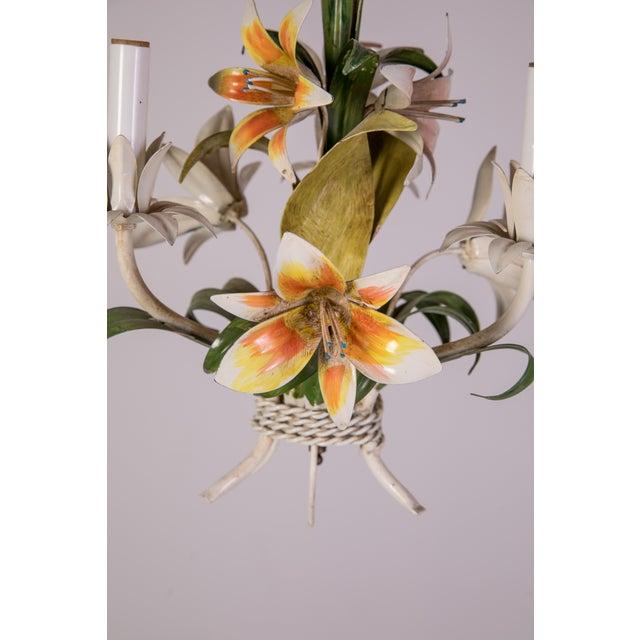 Metal Madcap Cottage Tole Lily 3-Light Chandelier For Sale - Image 7 of 12