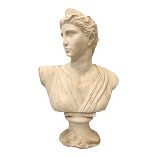 C. 1970 Italian Antique Lady Plaster Bust Sculpture For Sale