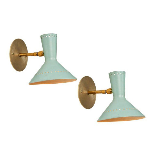 1960s Italian Perforated Double-Cone Sconces in the Manner of Arteluce - a Pair For Sale - Image 10 of 11