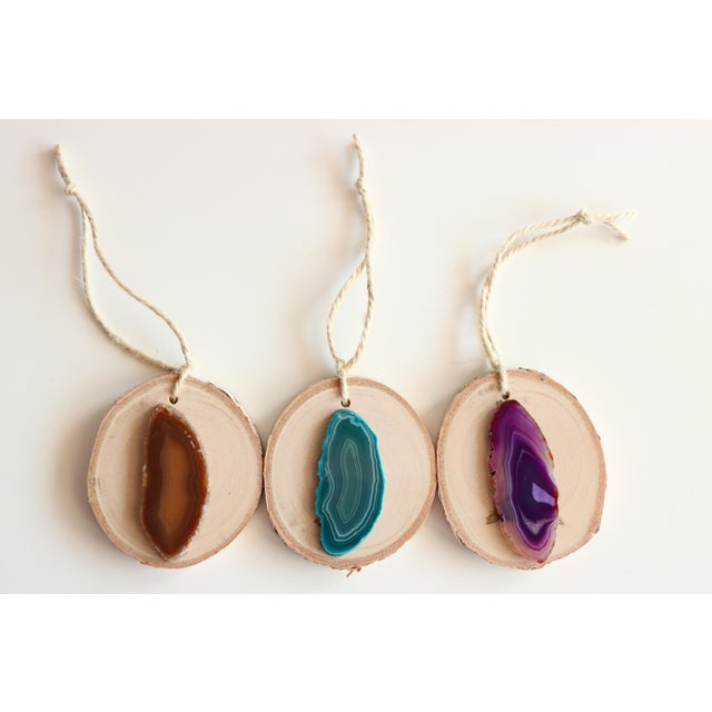 Agate Slice Birch Round Christmas Ornaments - Set of 6 - Image 5 of 7