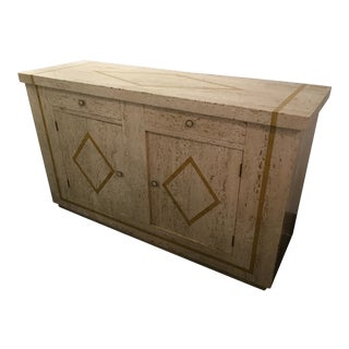 1970s Vintage Travertine Covered Wood Credenza For Sale