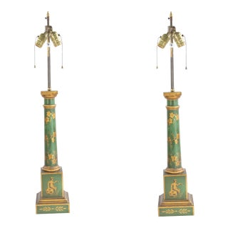 French Directoire Style Tole Column Table Lamps - a Pair For Sale