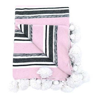Striped Pink Cotton Pom Pom Blanket For Sale