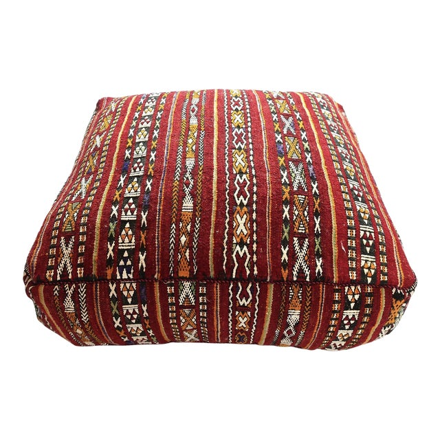Vintage Moroccan Textile Floor Cushion For Sale