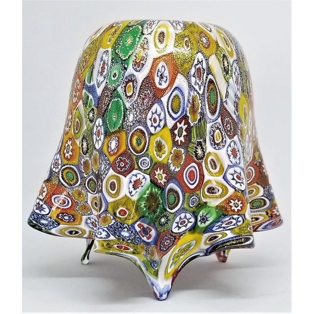 Vintage Murano Glass Hankerchief Vase - Millifiori and Gold by Campanella- Signed - Italy Italian Palm Beach Boho Chic Mid Century Modern For Sale - Image 11 of 13