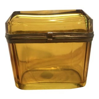 19th Century French Amber Glass Hinged Box For Sale