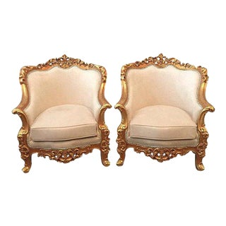 Late 19th Century Vintage Italian Baroque/Rococo Bergeres - A Pair For Sale