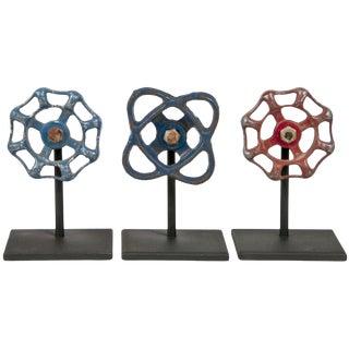 Cast Aluminum Valve Handles on Stands - Set of 3 For Sale