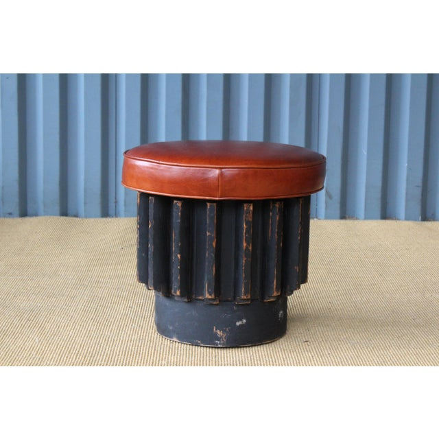 Animal Skin Industrial Gear Cog Stools, California, 1940s For Sale - Image 7 of 11