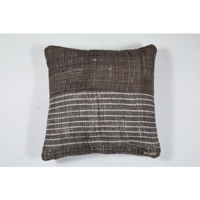 Indian Patchwork Grey Pillow For Sale - Image 4 of 6