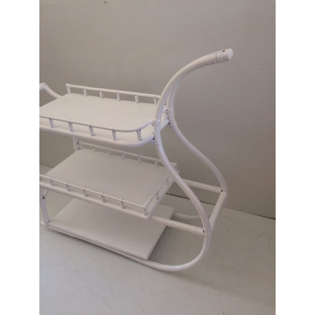 Hollywood Regency 1970s Regency White Rattan Regency Bar Cart For Sale - Image 3 of 13