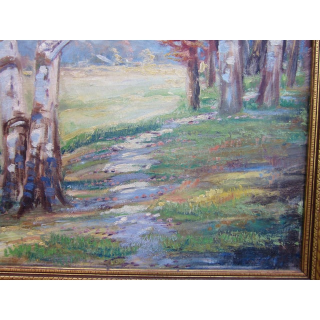 Vintage 1930-1940s Wallace Howard Signed Birch Forest Landscape Oil Painting on Canvas For Sale - Image 9 of 11