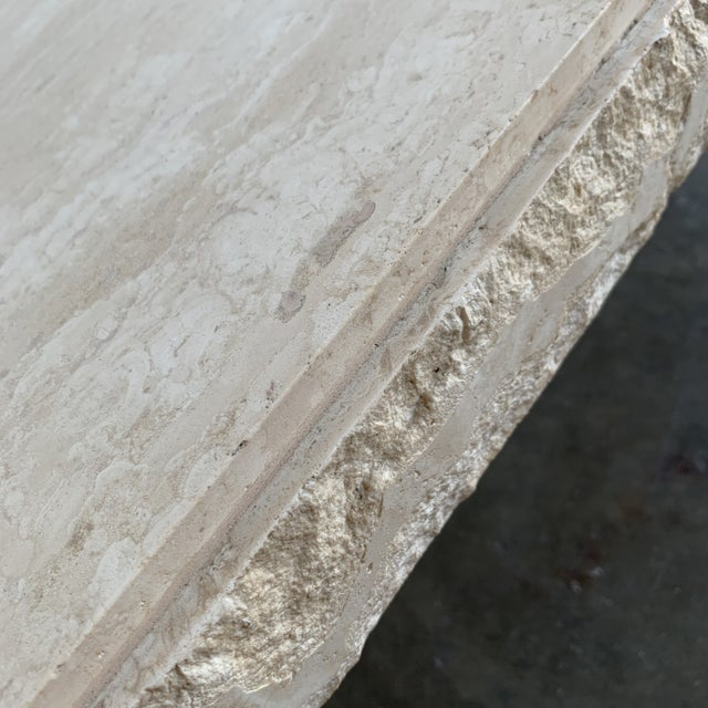 Textured Edge Travertine Coffee Table For Sale - Image 11 of 13