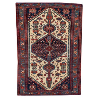 "Antique Hamadan Rug, 3'4"" X 4'10"" For Sale"