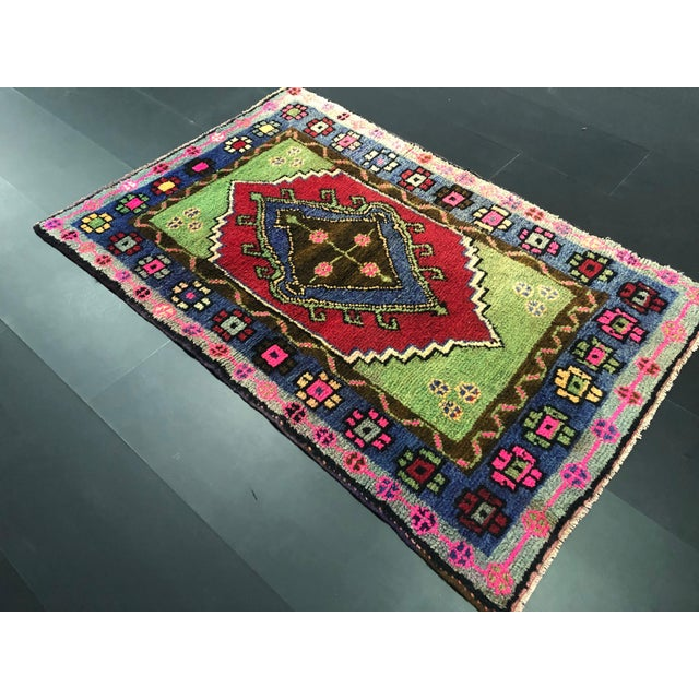 Boho Chic Traditional Anatolian Aztec Antique Blue Green Pink and Red Turkish Oushak Rug For Sale - Image 3 of 12