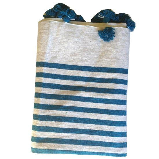 Turquoise Striped Moroccan Blanket with Tassels - Image 1 of 3