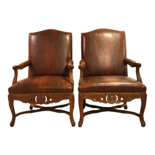 Faux Crocodile Carved Arm Chairs in the Style of Ralph Lauren - a Pair For Sale