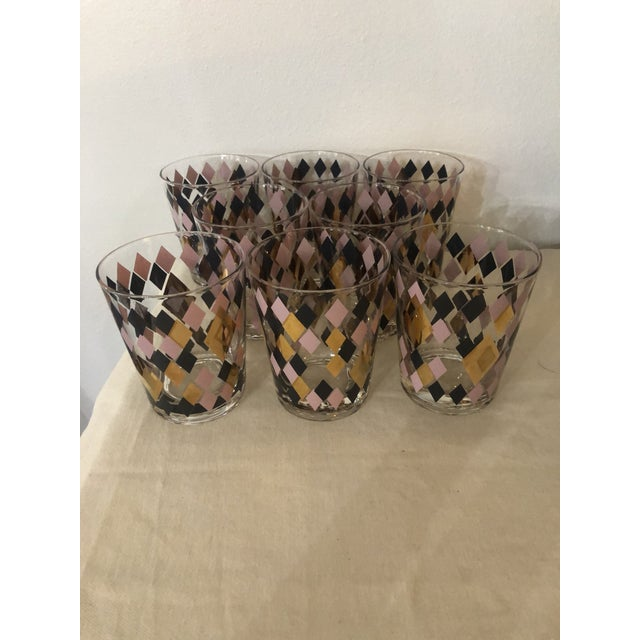 Mid Century Harlequin Pattern Cocktail Glasses - Set of 8 For Sale In New Orleans - Image 6 of 6