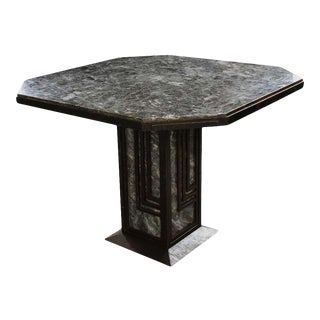 French Early 20th Century Art Deco Iron and Marble Table For Sale