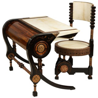 Carlo Bugatti-Style Writing Desk with Chair For Sale