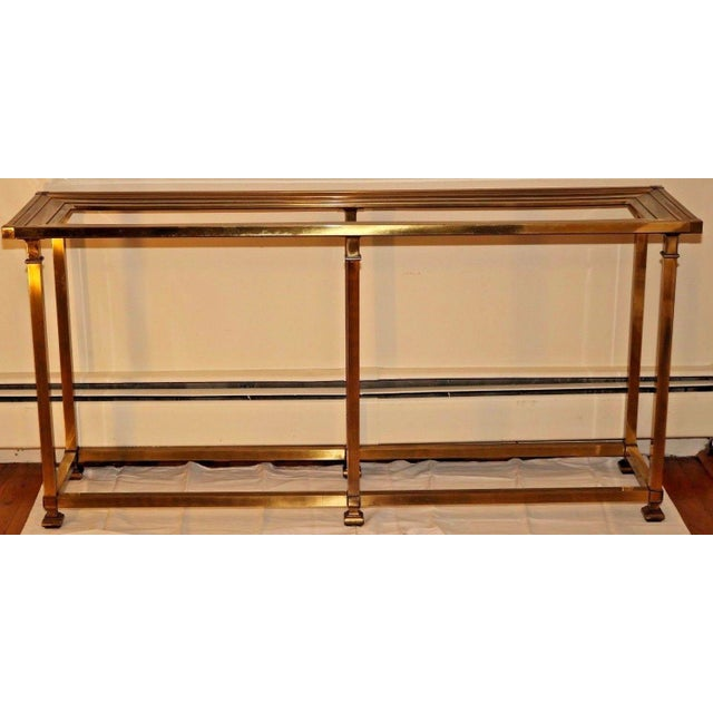 Vintage mid century brass glass top console table chairish for Spl table 98 99