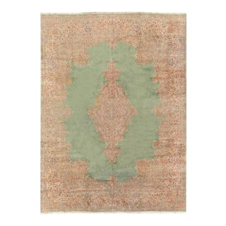 1940s Pasargad Light Green Fine Persian Hand Knotted Kerman Rug 13' X 17' For Sale
