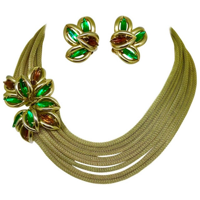 Metal 1960s Green and Topaz-Yellow Marquis Torsade Necklace and Earring Set For Sale - Image 7 of 7