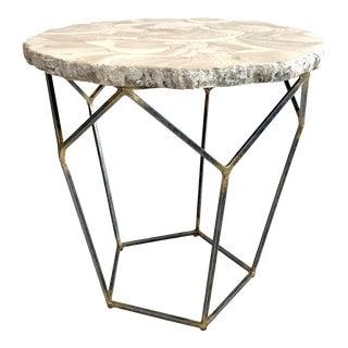 Organic Modern Palecek Loren Fossilized Clam Side Table For Sale