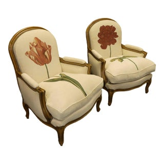 Vintage Roche Bobois French Louis XV Bergere Chairs With Limited Edition Fabric - a Pair For Sale