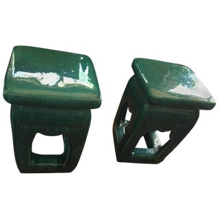 Chinese Green Glazed Stools - a Pair For Sale