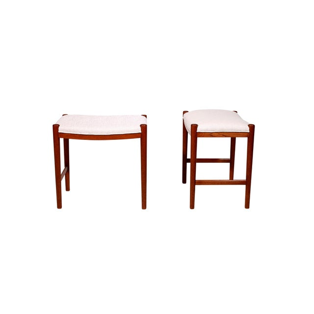 Mid-Century Modern Pair of Danish Stools For Sale - Image 3 of 11
