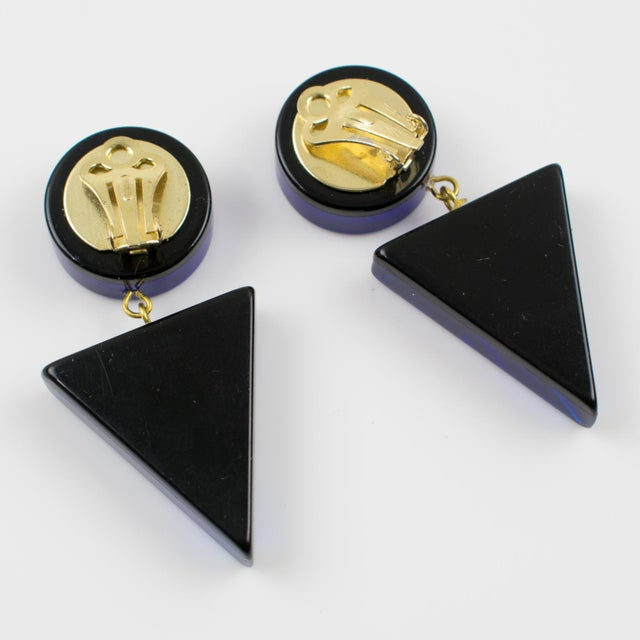 1980s Geometric Lucite Clip-On Earrings Intense Royal Blue For Sale - Image 4 of 6
