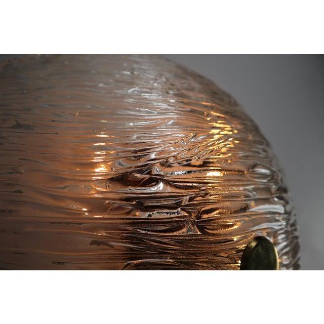 Round Modernist Textured Ice Glass Flush Mounts By Kalmar Austria For Sale - Image 11 of 12