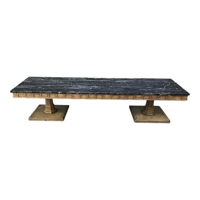 Art Deco Walnut and Marble Coffee Table For Sale