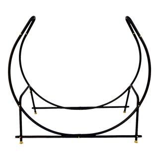 Huge Vintage Log Hoop | Black Metal Crescent Shape | Repurposed Round Plant Stand | Modernist Fire Wood Holder | Black Tubular Steel & Brass Accents For Sale