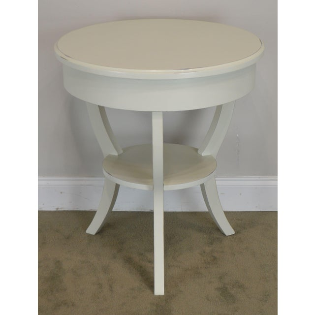 Early 21st Century Round White One Drawer Side Table For Sale - Image 5 of 13