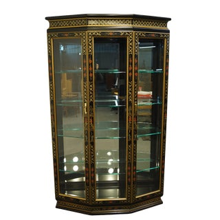 "Asian Inspired Chinoiserie Black Lacquered 48"" Display Curio Cabinet For Sale"