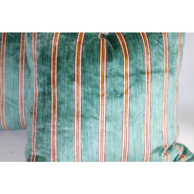 Folk Art Striped Velvet Pair of Pillows For Sale - Image 3 of 4