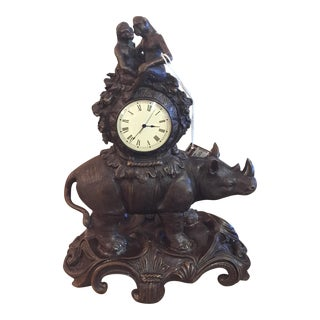 Maitland-Smith Rhino & Monkey Clock For Sale