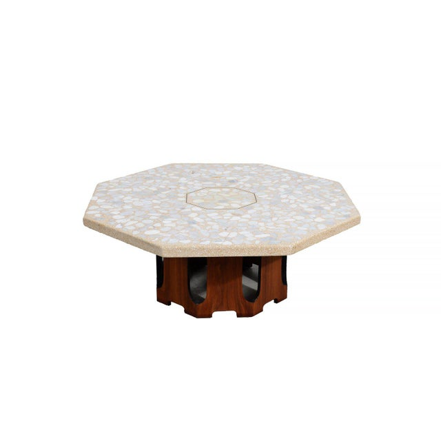 1960s 1960s Mid Century Modern Harvey Probber Terrazzo and Walnut Hexagon Cocktail Table For Sale - Image 5 of 5