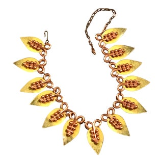Vintage Green Yellow Copper Leaf Necklace For Sale