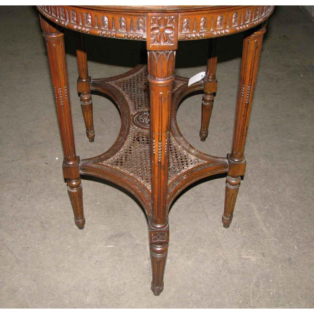 Antique Carved Marble Top Wood Table For Sale - Image 5 of 6