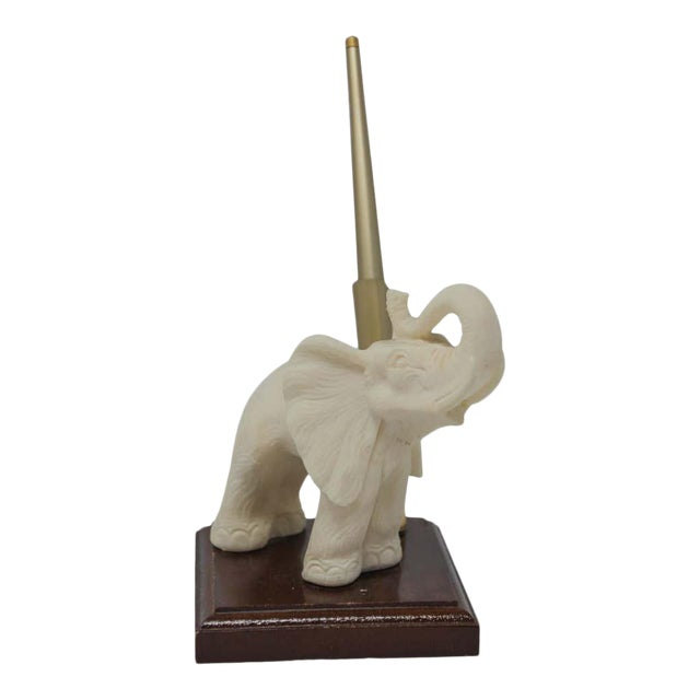 Vintage White Elephant Sculpture Pen Holder For Sale
